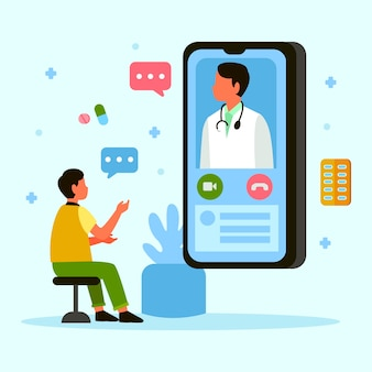 Medico online che parla con paziente