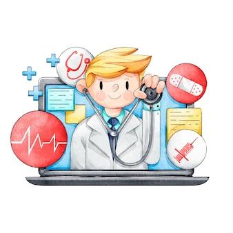 Medico online con lo stetoscopio illustrato