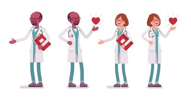 Medico positivo maschio e femmina