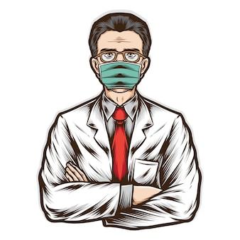 Medico senior indossare maschera medica