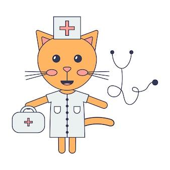 Medico simpatico gatto dei cartoni animati.