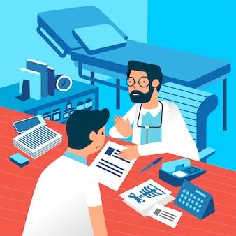 Medico spiegando al paziente