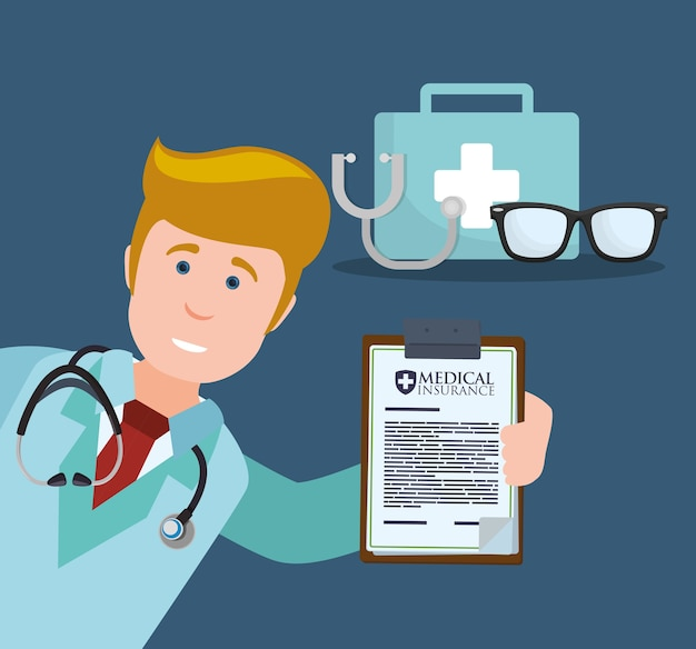Medico stetoscopio kit primo soccorso occhiali appunti
