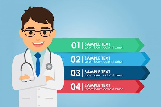 Medico uomo in piedi con un infografica