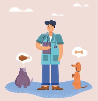 Medico veterinario con i suoi animali domestici a quattro zampe