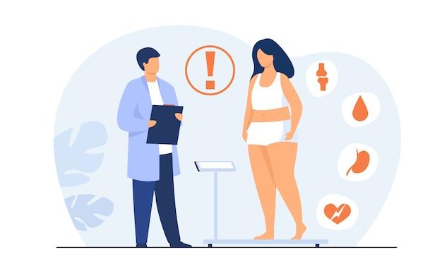 Medico visita paziente grasso