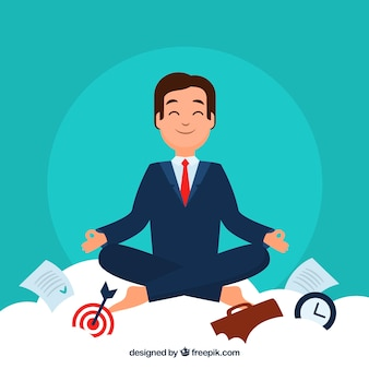 Meditando il concetto con l'uomo d'affari