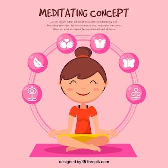 Meditando il concetto con la donna disegnata a mano