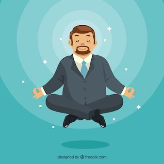 Meditando il concetto con un uomo d'affari piatto