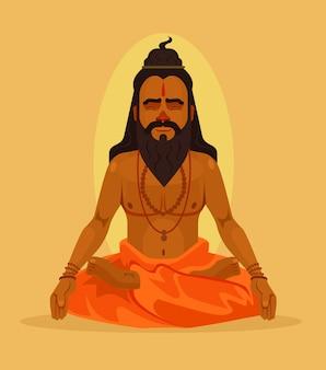Meditando personaggio uomo yogi. illustrazione piatta dei cartoni animati