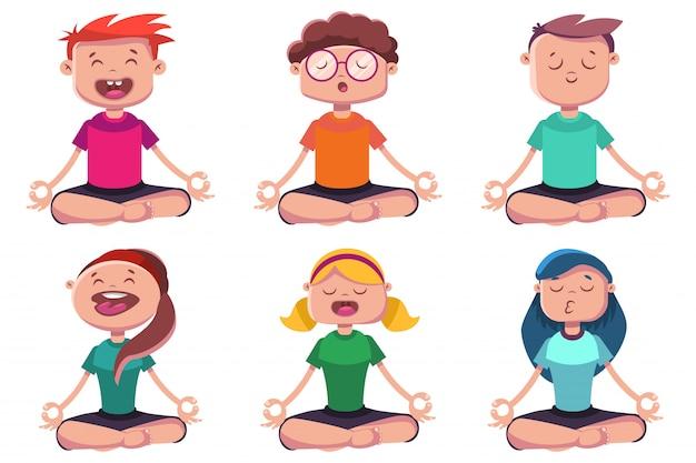 Meditazione dei giovani impegnati nello yoga. serie di caratteri del fumetto di vettore dell'uomo e della donna che si siedono nella posa del loto isolata