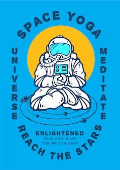 Meditazione di astronauti in posizione yoga in cerca di illuminazione