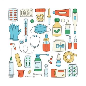 Meds, droghe, pillole, bottiglie ed elementi medici di sanità.