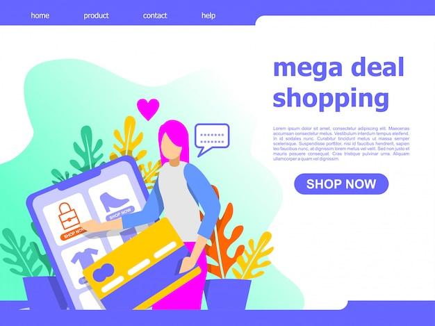 Mega affare illustrazione di atterraggio dello shopping online shopping