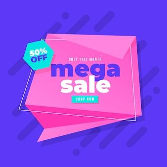 Mega banner di vendita in stile origami