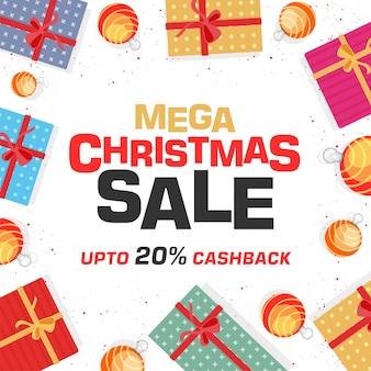 Mega christmas sale banner con offerta di rimborso del 20%