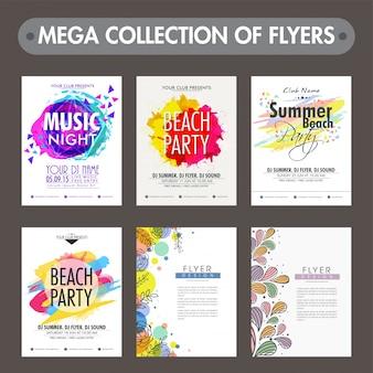 Mega collection di sei diversi volantini di partito o modelli di progettazione