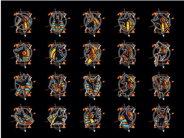Mega confezione di tatuaggi di geometria sacra anubi