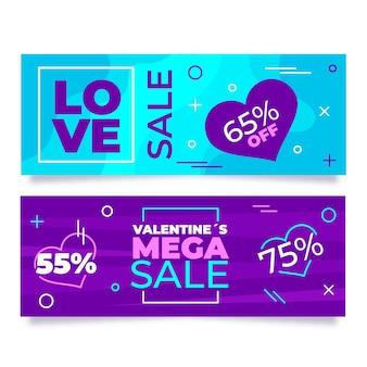 Mega discount banner di vendita di san valentino