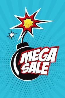 Mega disegno di vendita di vendita con fumetto di fumetti comico in stile pop art