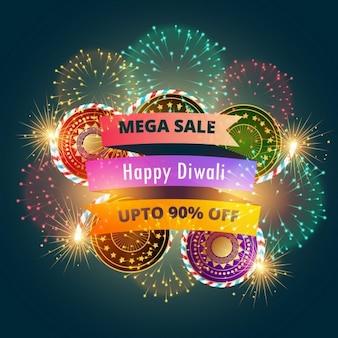Mega diwali vendita poster banner con fuochi d'artificio