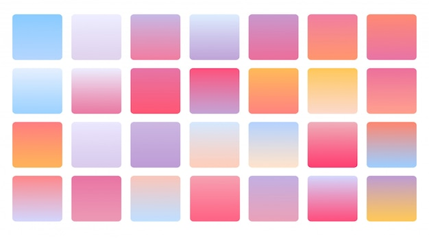 Mega set di combinazioni di gradienti di colore pastello morbido