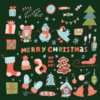 Mega set di simpatici personaggi natalizi ed elementi decorativi. collezione natalizia per decorazioni natalizie, biglietti di auguri, stampa. mouse, pupazzo di neve, renne, giocattoli