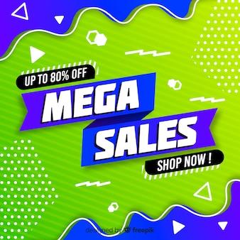 Mega sfondo di vendita con forme astratte