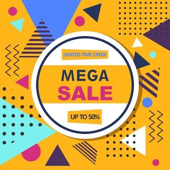 Mega vendita banner web stile memphis astratta.
