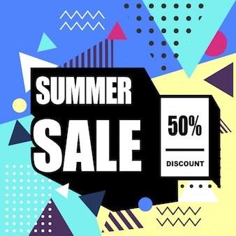 Mega vendita banner web stile memphis. sconto moda e viaggi, vendita estiva