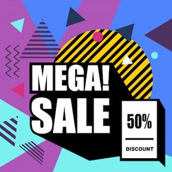 Mega vendita banner web stile memphis.