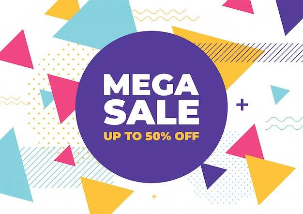 Mega vendita con banner di forme geometriche colorate.