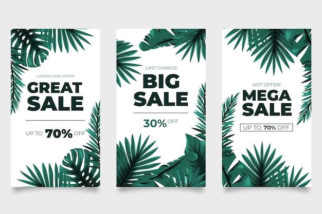 Mega vendite di foglie tropicali storie di instagram