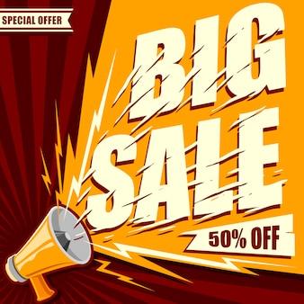 Megafono con il grande testo dell'insegna di vendita per il vettore di promozione delle vendite