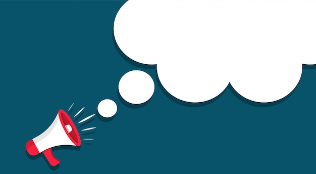 Megafono con una nuvola. altoparlante in stile cartone animato. per annuncio o informazioni importanti
