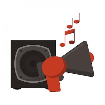 Megafono e altoparlante di musica