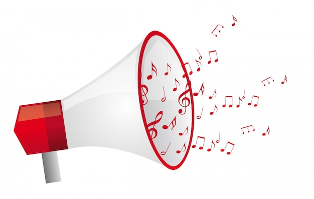 Megafono rosso con note musicali isolato illustrazione vettoriale