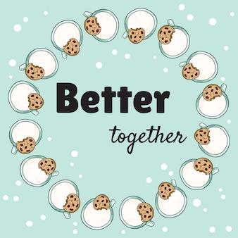 Meglio insieme banner con tazze di latte e biscotti