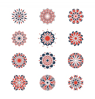 Mehendi e motivi circolari arabi. logo design geometrico in stile islamico