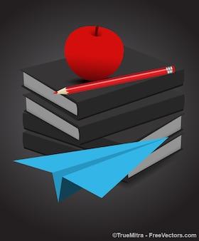 Mela rossa su libri con aeroplano blu