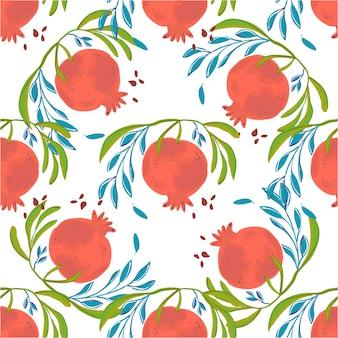 Melograno di illustrazione vettoriale disegnato a mano. frutta botanica