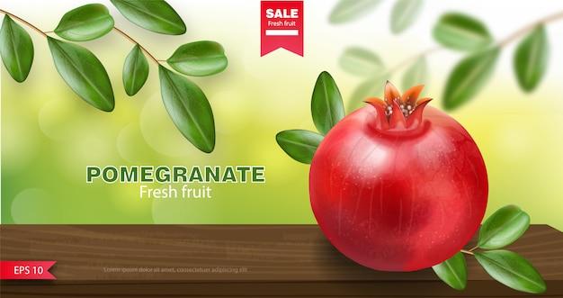 Melograno e foglia verde, frutta fresca realistica, frutta biologica, banner di melograno