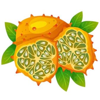 Melone cornuto o illustrazione vettoriale kiwano