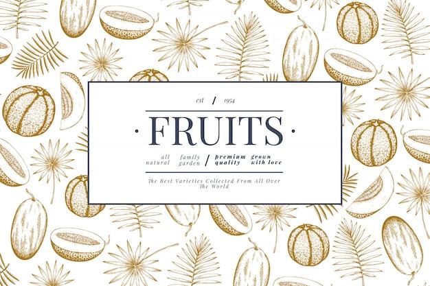 Meloni e angurie con modello di progettazione di foglie tropicali. illustrazione di frutta esotica di vettore disegnato a mano. cornice per frutta in stile inciso. sfondo botanico retrò.