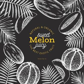 Meloni e angurie con modello di progettazione di foglie tropicali.