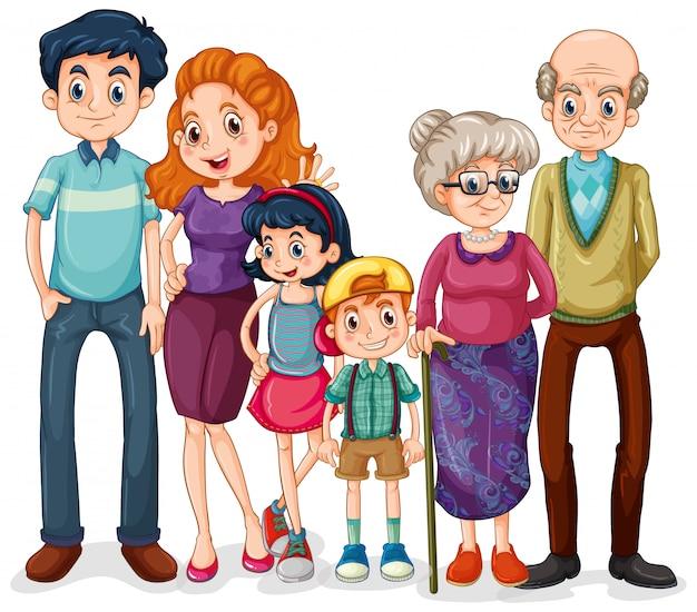 Membri della famiglia con genitori e figli su sfondo bianco