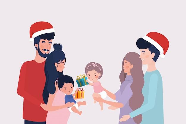 Membri della famiglia con regali di natale