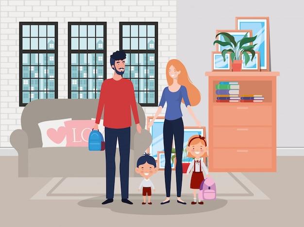 Membri della famiglia in scena casa soggiorno