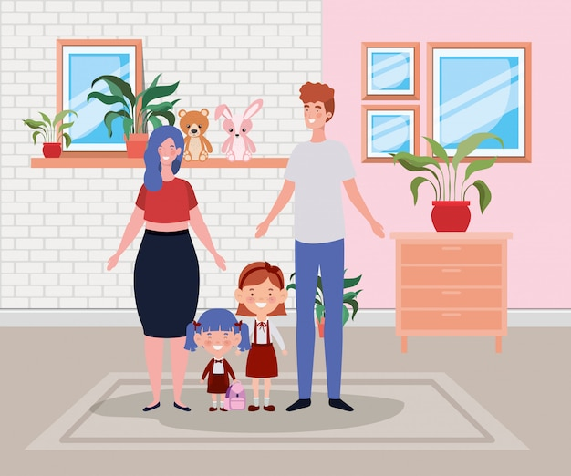 Membri della famiglia in scena luogo casa