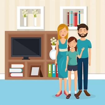 Membri della famiglia nel soggiorno